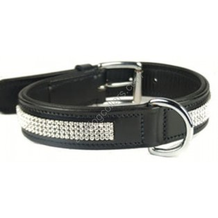 Black padded Leather Dog Collar With FOUR rows of SWAROVSKI crystals  ****EMBEDDED****